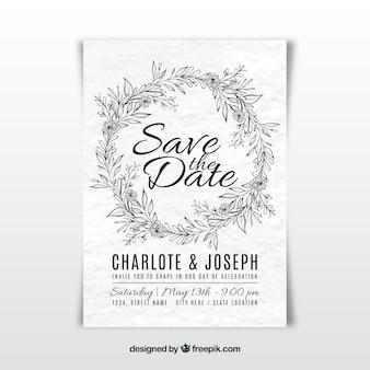 Hand getrokken bruiloft uitnodiging in wit