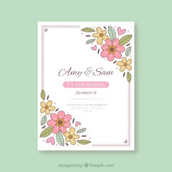 Hand getrokken bruiloft uitnodiging met florale stijl