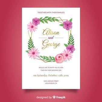Hand getrokken bruiloft uitnodiging sjabloon