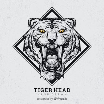 Hand getrokken brullende tijger achtergrond