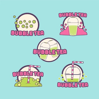 Hand getrokken bubble tea-logo's set