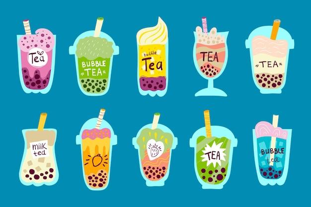 Hand getrokken bubble tea-smakencollectie