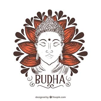 Hand getrokken budha met elegante stijl