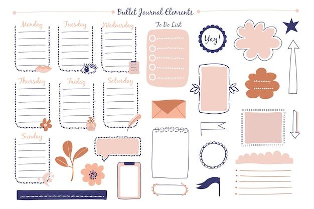 Hand getrokken bullet journal-elementen