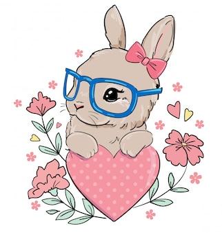 Hand getrokken bunny met bril. schattige konijn met strik en bloemen.