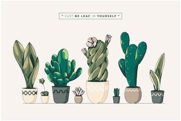 Hand getrokken cactus collectie afbeelding achtergrond