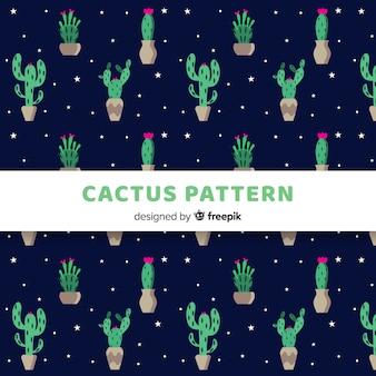 Hand getrokken cactus en sterrenpatroon