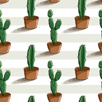 Hand getrokken cactus plant naadloze patroon