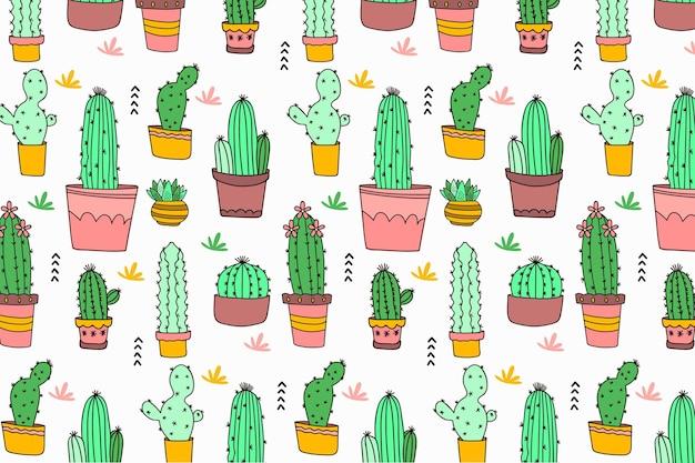 Hand getrokken cactuspatroon