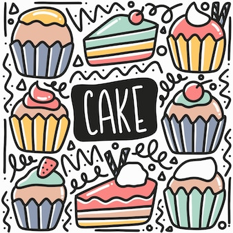 Hand getrokken cake doodle set met pictogrammen en ontwerpelementen
