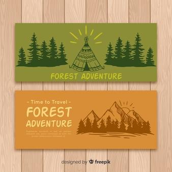 Hand getrokken camping banner collectie
