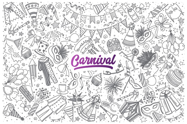Hand getrokken carnaval doodle set achtergrond met paarse letters