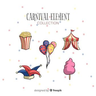 Hand getrokken carnaval elementen instellen