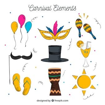 Hand getrokken carnaval elementeninzameling Gratis Vector