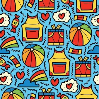 Hand getrokken cartoon baby doodle patroon