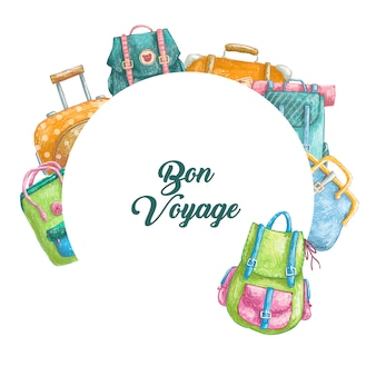 Hand getrokken cartoon cirkel grens met vakantie tassen