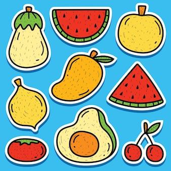 Hand getrokken cartoon doodle fruit sticker ontwerp