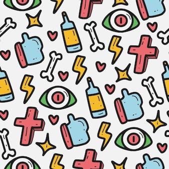 Hand getrokken cartoon doodle patroon sjabloon