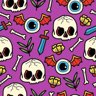 Hand getrokken cartoon doodle schedel patroon ontwerp