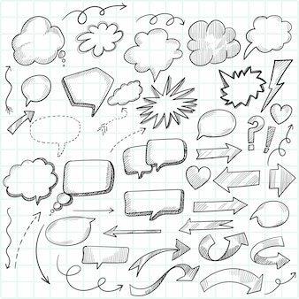 Hand getrokken cartoon doodle tekstballonnen schets ontwerp