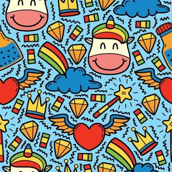 Hand getrokken cartoon doodle unicon patroon ontwerp