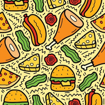 Hand getrokken cartoon doodle voedsel patroon ontwerp