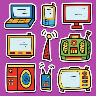 Hand getrokken cartoon elektronische doodle sticker ontwerp