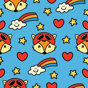 Hand getrokken cartoon fox doodle naadloze patroon