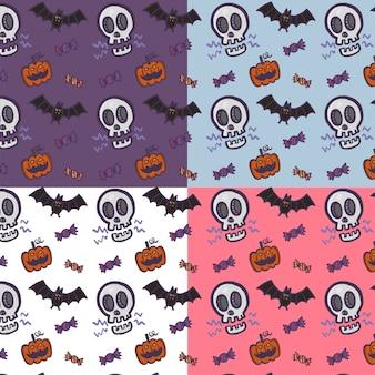 Hand getrokken cartoon halloween-patroon