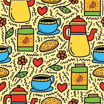 Hand getrokken cartoon koffie doodle patroon ontwerp Premium Vector
