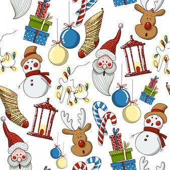 Hand getrokken cartoon naadloze kerst patroon