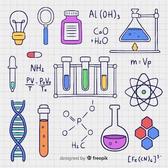 Hand getrokken chemie achtergrond