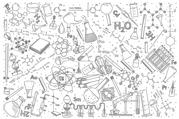 Hand getrokken chemie vector doodle set.