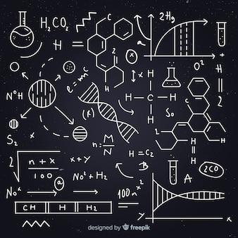 Hand getrokken chemie vergelijking schoolbord