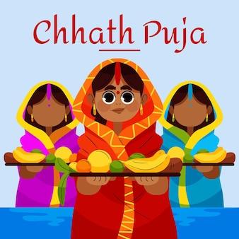 Hand getrokken chhath puja