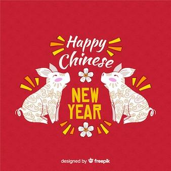Hand getrokken chinees nieuwjaar 2019 achtergrond