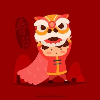 Hand getrokken Chinese nieuwe jaarachtergrond