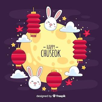 Hand getrokken chuseok festival achtergrond