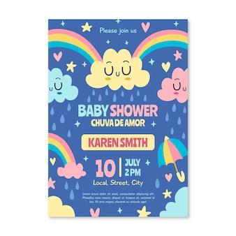 Hand getrokken chuva de amor baby shower uitnodiging sjabloon