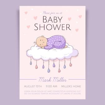 Hand getrokken chuva de amor baby showeruitnodiging