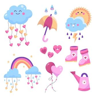 Hand getrokken chuva de amor decoratie-element collectie