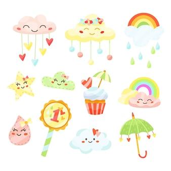 Hand getrokken chuva de amor decoratie-elementcollectie