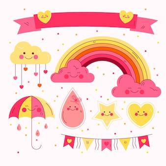 Hand getrokken chuva de amor decoratie-elementen