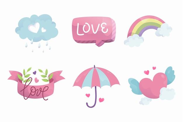 Hand getrokken chuva de amor decoratie-elementenset