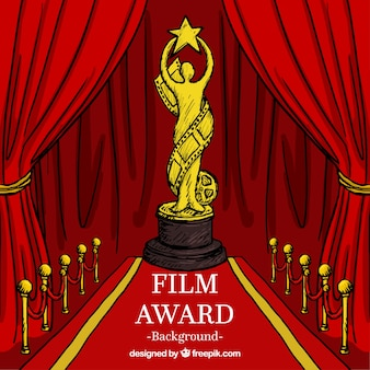 Hand getrokken cinema award achtergrond