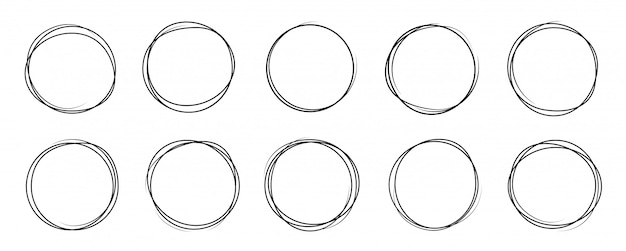 Hand getrokken cirkel lijn schets set. kunstontwerp rond cirkelvormig gekrabbel