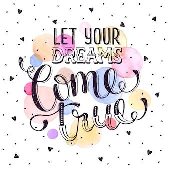 Hand getrokken citaat over droom.
