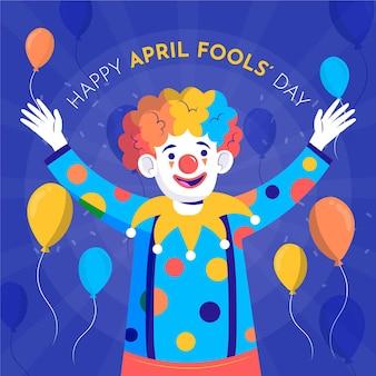 Hand getrokken clown dwazen april dag
