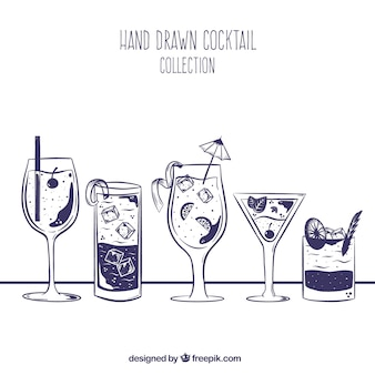 Hand getrokken cocktail collectie