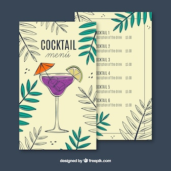 Hand getrokken cocktail menusjabloon